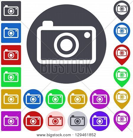 Color camera icon, button, symbol set. Square, circle and pin versions.