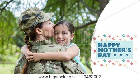 Mother in army uniform kissing daughter against mothers day greeting