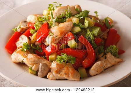 Stir Fry Chicken With Mushrooms, Peppers And Zucchini Closeup. Horizontal