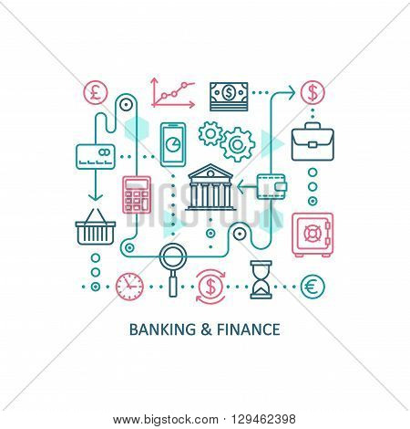Banking and finance. Vector line web icon set.