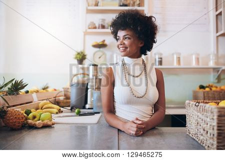 Beautiful Young Woman Working At Juice Bar