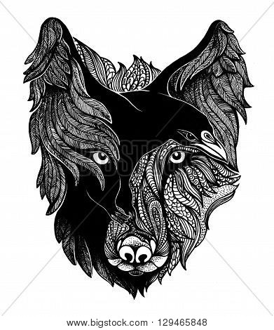 Wolf and raven black and white art illustration.
