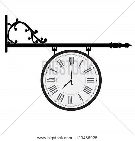 Vector illustration hanging vintage street clock with roman numerals. Retro street clock
