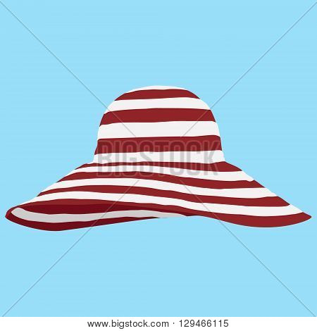 Vector illustration red beach hat on blue background. Striped sun summer hat