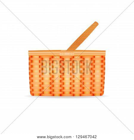 Vector illustration of a straw wicker basket. Isolated on white background.