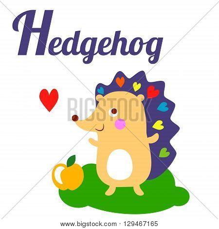 Cute animal alphabet. H letter. Cute cartoon Hedgehog. Alphabet design in a colorful style - stock vector