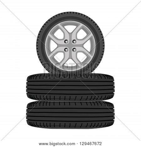 Vector illustration new shiny winter car wheels. Stack of realistic car wheels