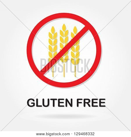 Gluten free sign or label with wheat ears. Colorful vector icon. Infographics element for food packaging.