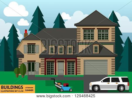 The building with a white car and a lawn mower in a flat style