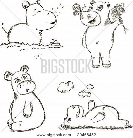 Small Set of Illustrations About Little Hippo