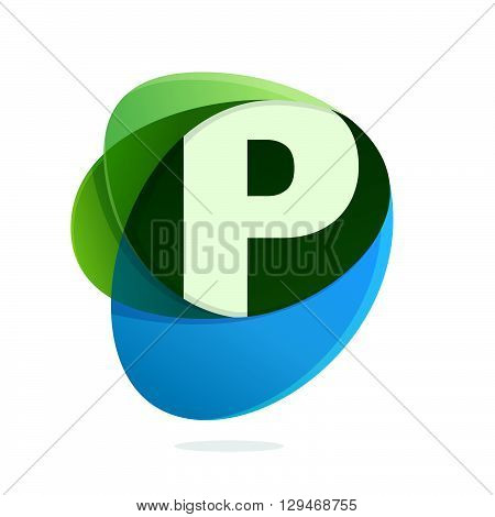 P Letter With Green Leaves And Blue Drops.