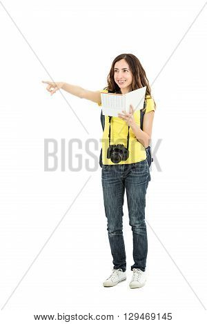 Caucasian tourist woman with a guide in her hand showing direction. Isolated on white background.