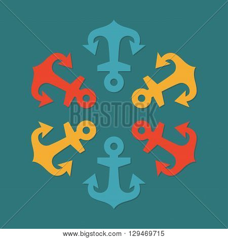 Abstract anchors. Anchor background. Colorful vector illustration.