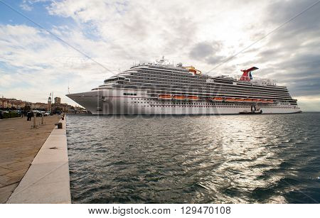 TRIESTE ITALY - MAY 01: View of the newest carnival cruise ship docked in Trieste on May 01 2016