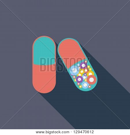 Pills icon. Flat vector related icon with long shadow for web and mobile applications. It can be used as - logo, pictogram, icon, infographic element. Vector Illustration.