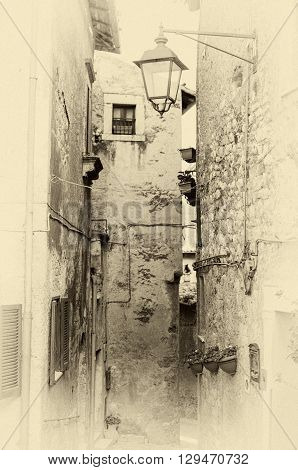 the Sermoneta alley, town in Lazio, Italy