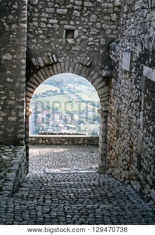 the medieval door in Sermoneta , Italy