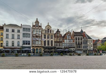 View of historic houses on Grand Market Square (Grote Markt) in Mechelen Belgium