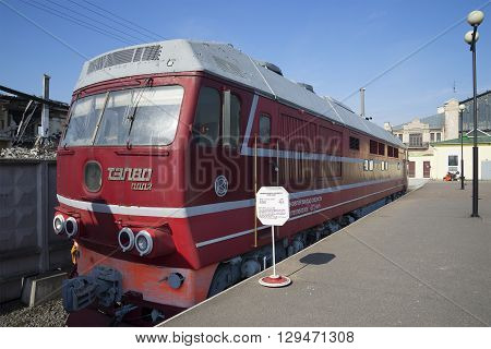 SAINT PETERSBURG, RUSSIA - MARCH 30, 2016: The prototype passenger locomotive TEP-80 on the October railway. Historical landmark of the city Saint Petersburg