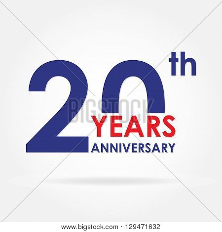 20 years anniversary sign or emblem. Template for celebration and congratulation design. Colorful vector 20th anniversary label.