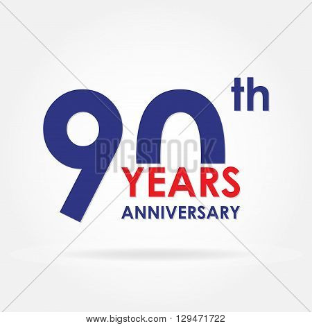 90 years anniversary sign or emblem. Template for celebration and congratulation design. Colorful vector 90th anniversary label.