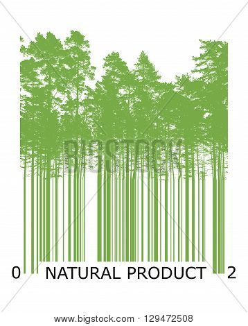 Natural Bar Code Concept With Green Trees