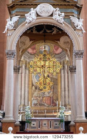 BOLOGNA, ITALY - JUNE 04: Crucifix by Giunta Pisano, main altar in San Petronio Basilica in Bologna, Italy, on June 04, 2015