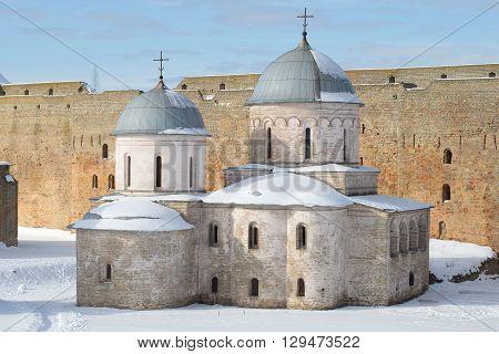 Uspenskaya Church in Ivangorod fortress closeup of a winter day. Leningrad region, Russia
