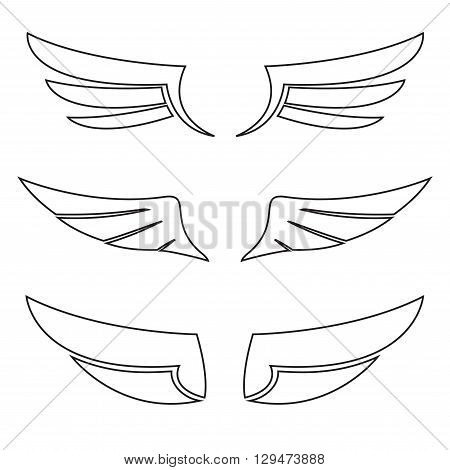 Wings icon outline set. Vector illustration of different bird wings.