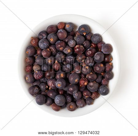 Bowl Of Juniper Berries Isolated On White, From Above
