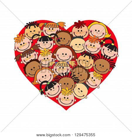 Cartoon baby faces in heart shaped frame vector face love smile illustration, childhood, kid, global associations, unions, internationally crowd many society,  joy