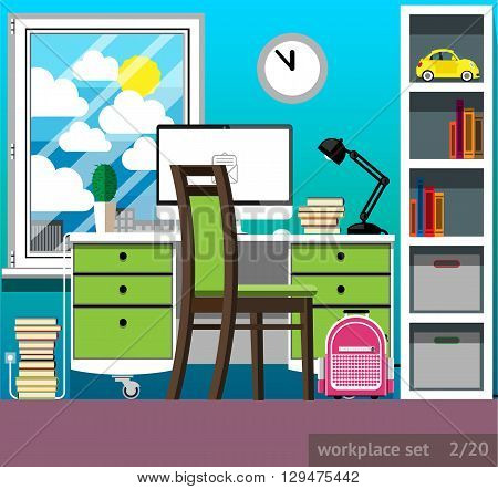 Vector illustration of a workplace of the schoolboy in a flat style