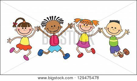 Children  isolated  look up with interest. Kid pointing at a wight  Funny cartoon character. Vector illustration simple