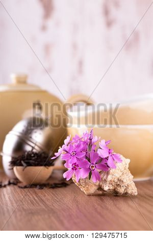 Several Pink Carnations In Seashell In Front Of Tea Set