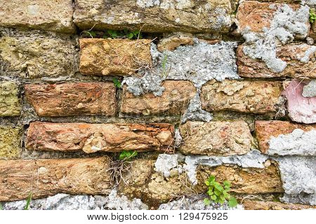 ancient texture of an old brick wall for wallpaper and for a background