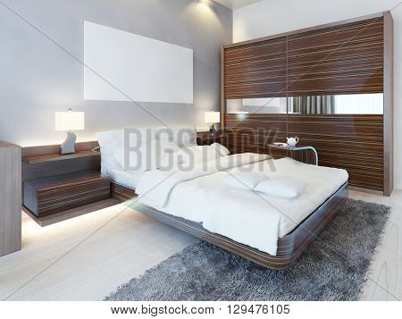 Contemporary bedroom in white colors and furniture Zebrano. Luxury bed two bedside tables with lamps and a sliding wardrobe. 3D render.