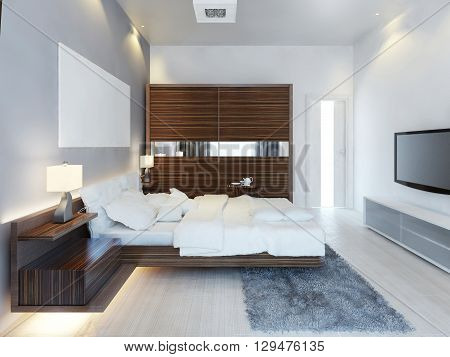 The design of modern light bedroom with a large sliding closet. The idea of brown furniture in a white bedroom a luxurious solution. 3D render.
