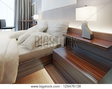 Modern wooden bedside nightstand in the form of shelves. Zebrano bedside shelf with a night lamp on. Modern solution for the bedroom. 3D render.