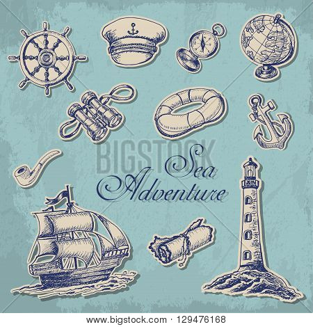 Collection of stickers with maritime subjects in sketch style. Vector  illustration for your design