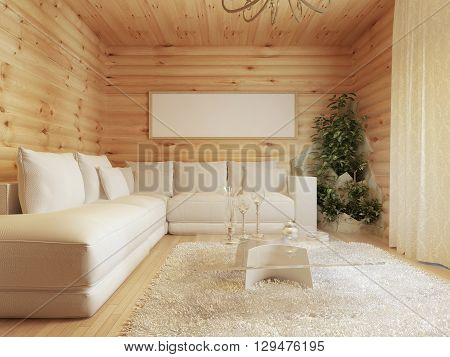 living room interior in a log house. Interior in modern style with a corner sofa and a green area. Mockup poster on the wall. 3D render.