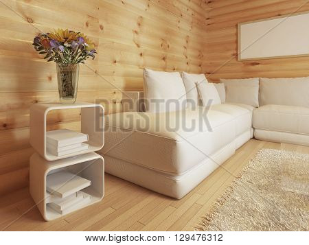 Modern living in a log interior with large white corner sofa. Bedside table with magazines and coffee table with decor. 3D render.