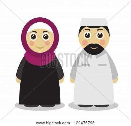 Cute Cartoon Muslim man and woman in traditional Islamic clothing on a white background