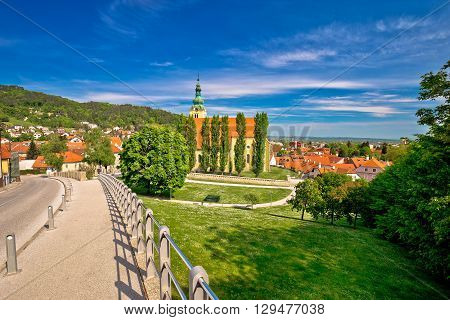 Town of Samobor church un green nature northern Croatia