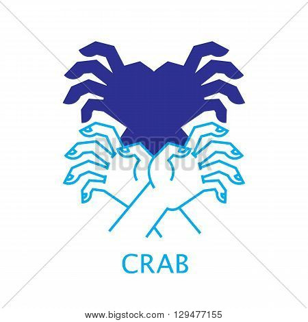 Shadow Hand Puppet Crab. Vector Illustration of Shadow Hand Puppet Isolated on a White Background. Shadow Theatre or Shadow Play. Icon of Shadow Hand Puppet Crab in Mix Style - Thin Line and Flat.