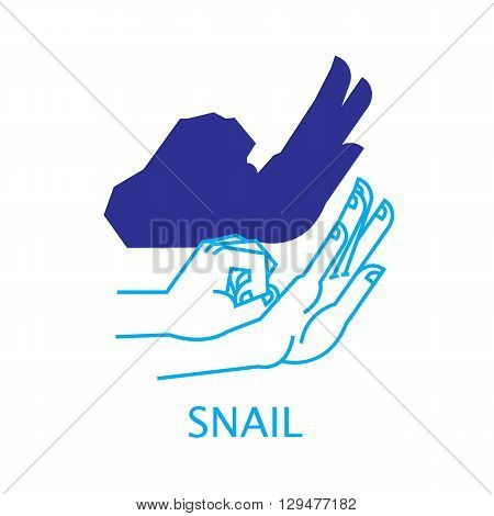 Shadow Hand Puppet Snail. Vector Illustration of Shadow Hand Puppet Isolated on a White Background. Shadow Theatre or Shadow Play. Icon of Shadow Hand Puppet Snail in Mix Style - Thin Line and Flat.