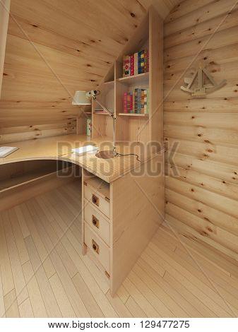 Corner desk and bookcase in a log interior. 3D render.