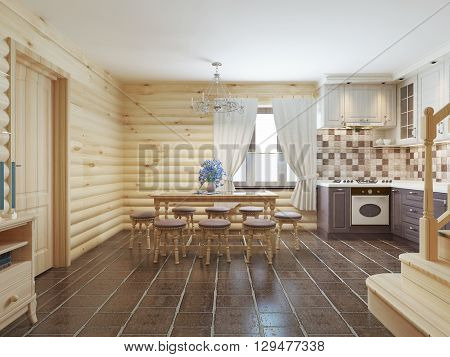 Dining room in a log interior with brown tiles on the floor and light wood walls. 3D render.