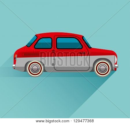 The red car in flat style on blue background