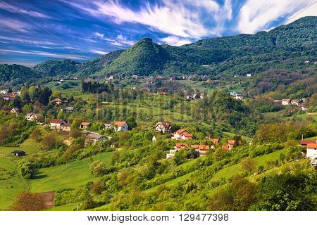 Pictoresque landscape of Samobor hills northern Croatia