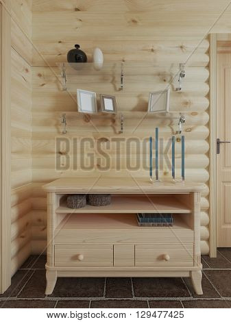 Wooden chest of drawers in the wall above the dresser shelf with decor in log home interior. 3D render.